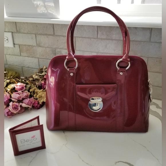 Beijo Handbags - BEIJO maroon patent purse